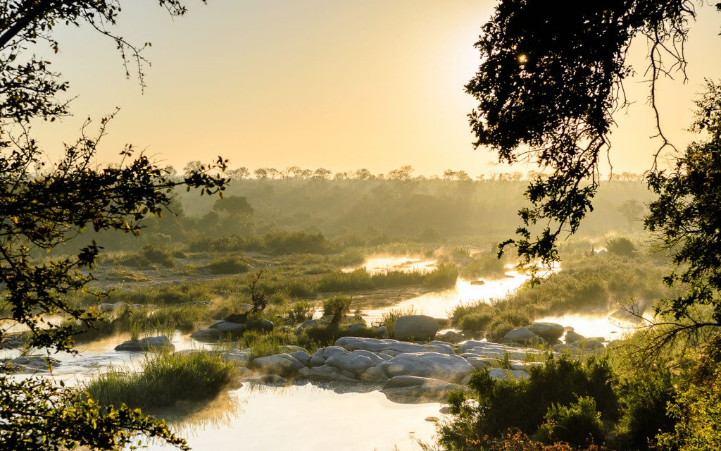game reserve and national park river sunset