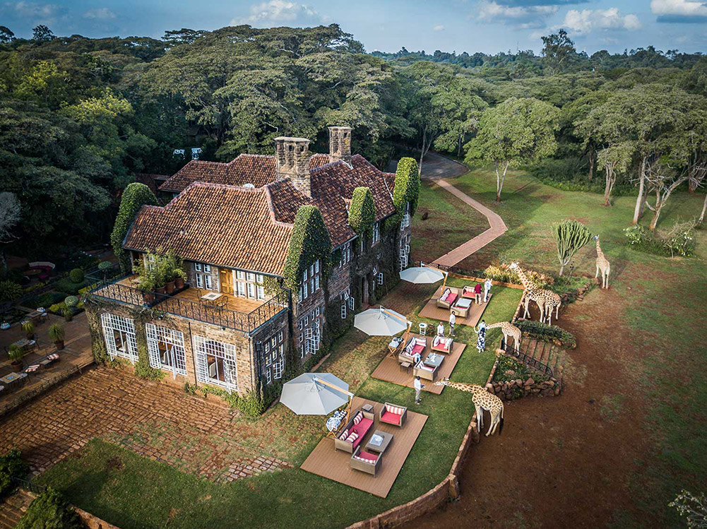 Giraffe Manor Colonial Luxury Courtyard Aerial