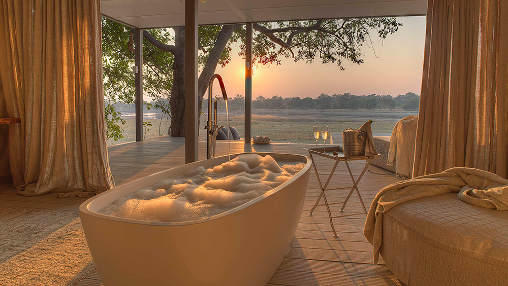 Zambia African Safari Destination - a haven for relaxation with soaking tubs overlooking the landscape